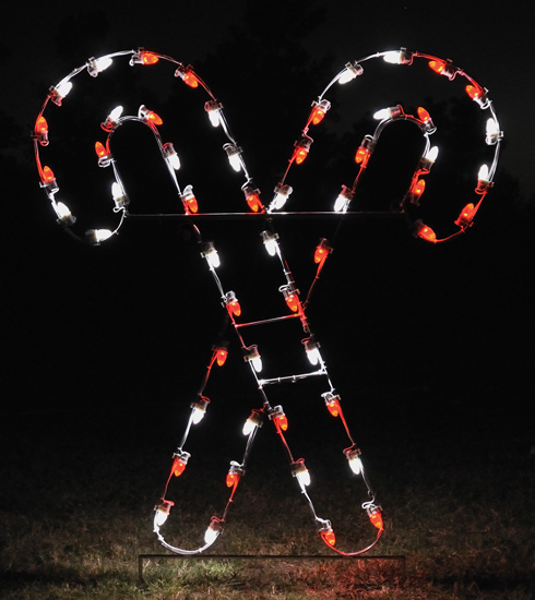 Large Crossed Candy Canes LED Outdoor Holiday Light Decoration