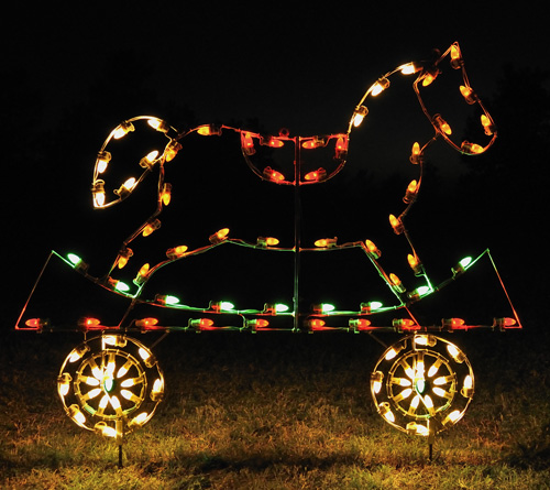 Holiday Lights - Flat Car with Rocking Horse
