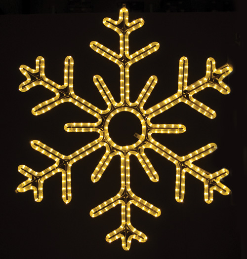 Gorgeous 6-point hanging snowflake featuring warm re white RL LED light outdoor winter decorations