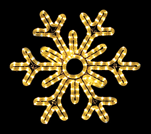 Gorgeous 6-point hanging snowflake featuring warm white RL LED light outdoor winter decorations