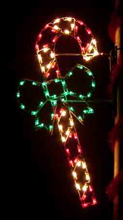 Pole Mount Holiday Light Decoration - Candy Cane with Bow
