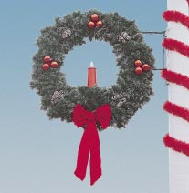 Garland Pole Mount Wreath with 23 inch Candle  5 Feet