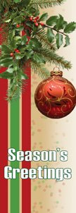 Seasons Greetings Seasonal Spray with Red Ornament Banner