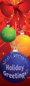Holiday Greetings Colorful Ornaments Banner
