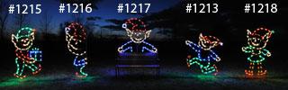 Large Santa's Elves Holiday Lights Display LED Commercial Scene