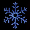 Gorgeous 6-point hanging snowflake featuring brilliant blue RL LED lights outdoor winter decorations
